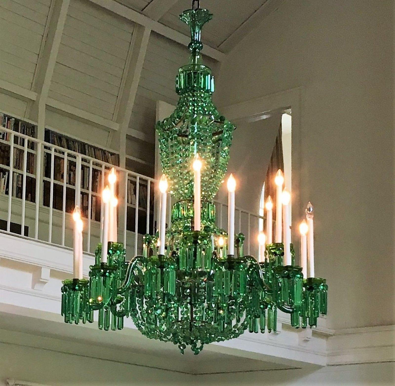 Immense Nesle Emerald Green Glass 18 Light Chandelier. Sold For $12,500
