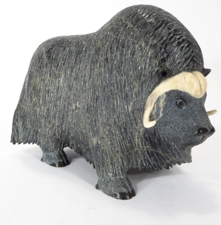 Inuit Carving Of A Musk Ox, Signed, Sold For $2,625
