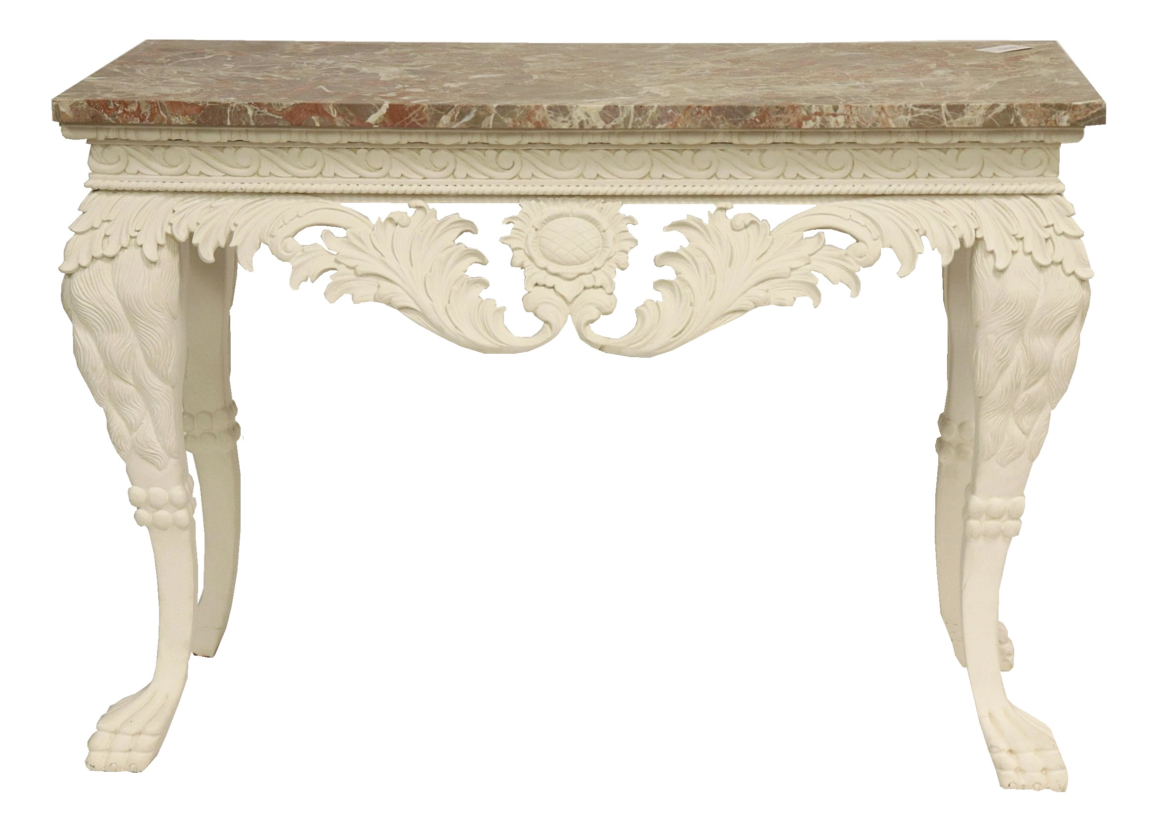 Irish Style White Painted & Marble Top Console, From The Estate Of Edward Bazinet. Sold For $11,700