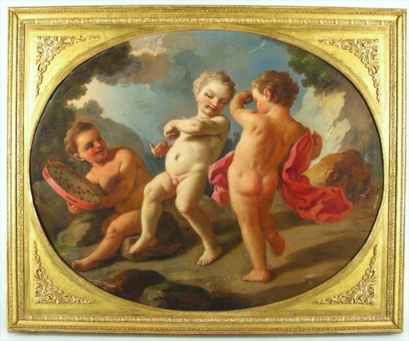 Italian School, 18th Century, Three Putti, Oil On Canvas, Possibly By Francesco De Mura. Sold For $27,600.
