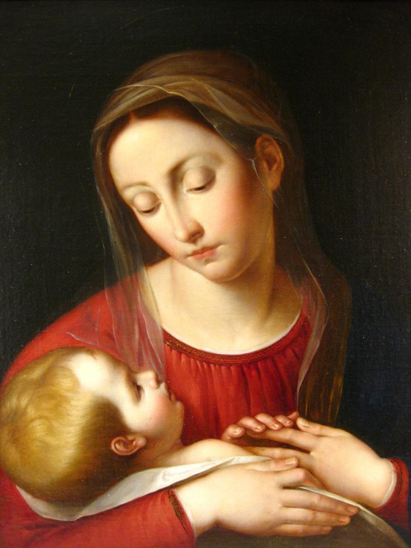 Italian School, Old Master, Madonna And Child, Oil On Canvas. Sold For 18,600.