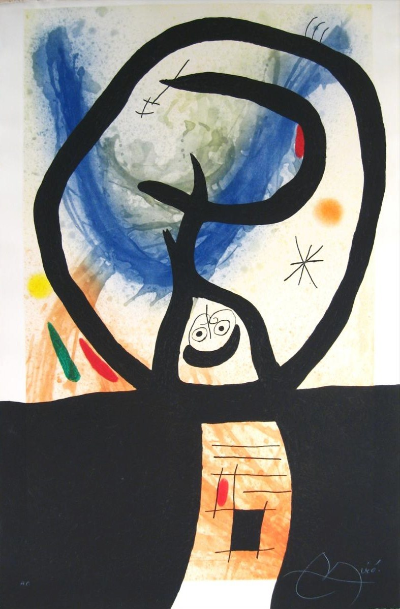 Joan Miro, Spanish, 1893-1983, 'La Fronde' 1969, Etching, Aquatint & Carborundum. Sold For $29,400.