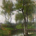 John Francis Murphy, American, 1853-1921, 'Woodland Brook', Oil On Canvas. Sold For $18,600.