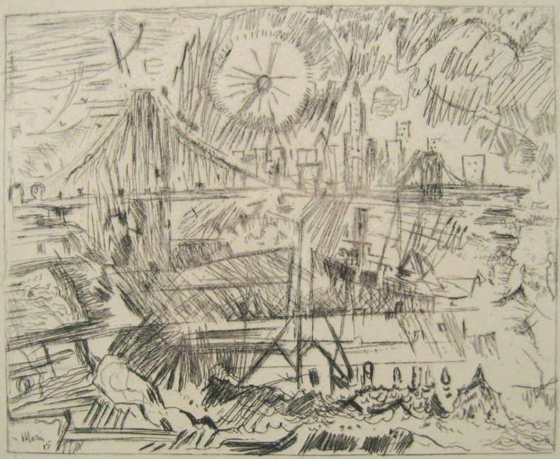 John Marin, Cape Split, Maine, 1875-1953, 'Brooklyn Bridge', Etching. Sold For $39,600.