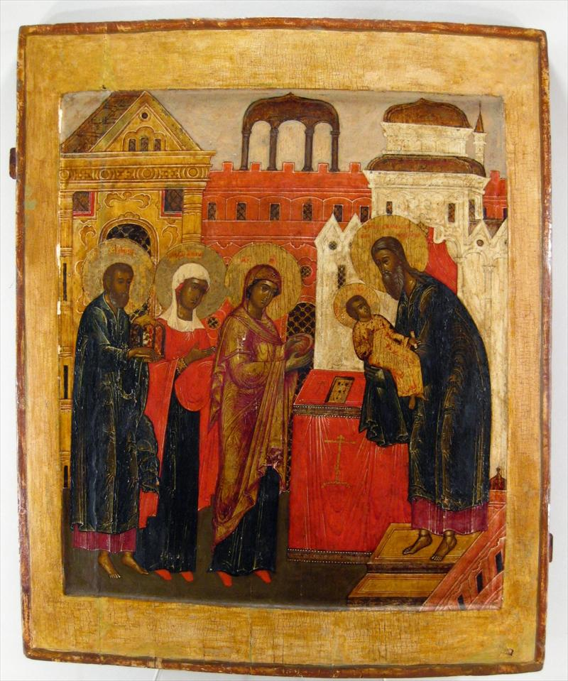 Large Painted & Giltwood Icon, Presentation Of Christ In Triumph, Russian, 18th C. Sold For $13,200.