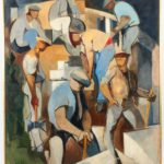 Lot 406.Jacques Despierre, Les Tailleurs De Pierre, Oil On Canvas, 1954. Sold For 6,250