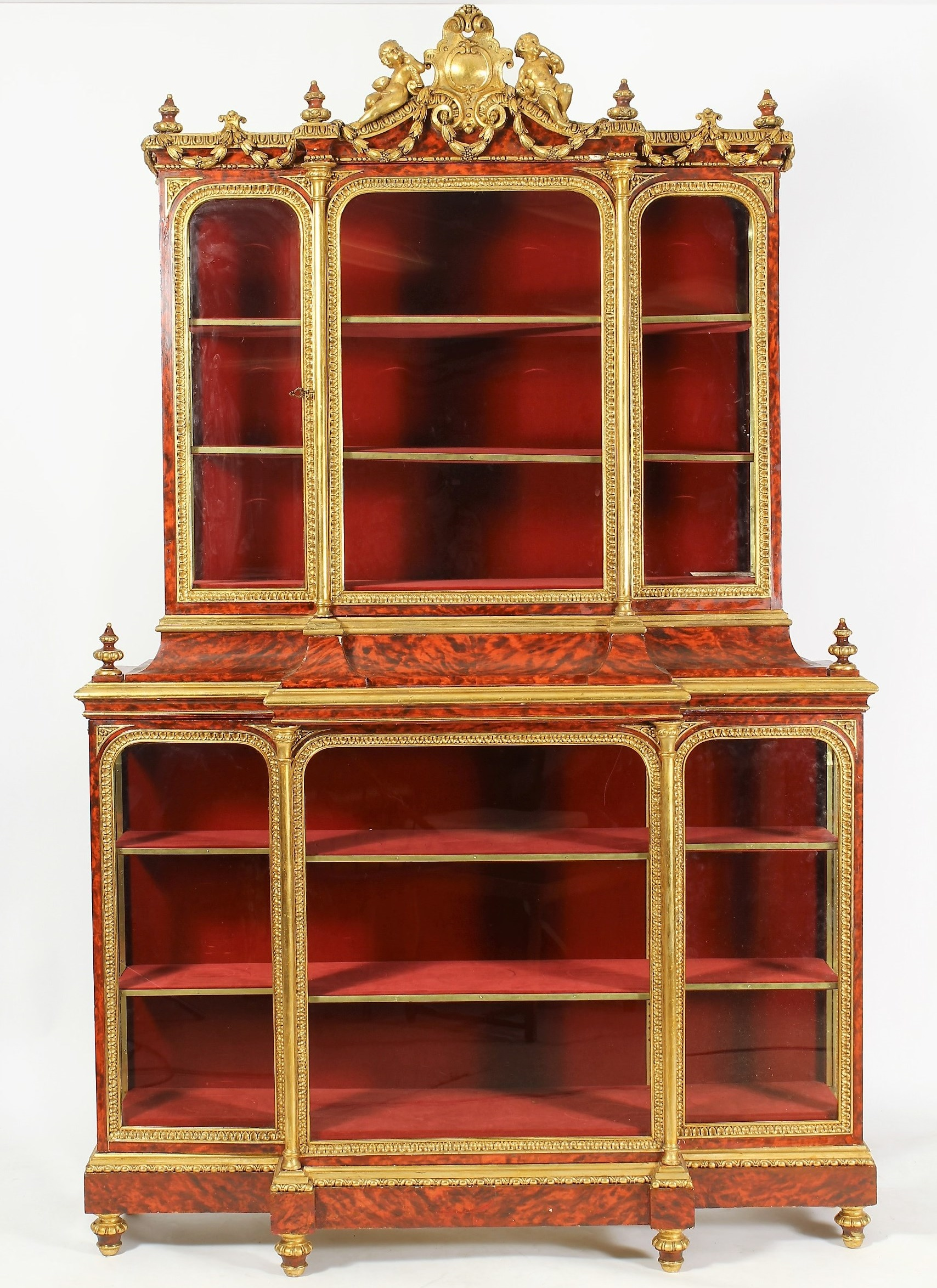 Louis XIV Style Vitrine Cabinet, 19th C. Sold For $4,750