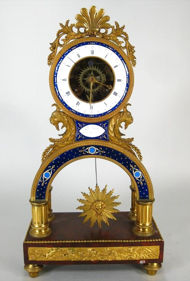 Louis XVI Directoire Ormolu, Enamel & Marble Striking Skeleton Clock, C. 1800. Sold For $27,000.