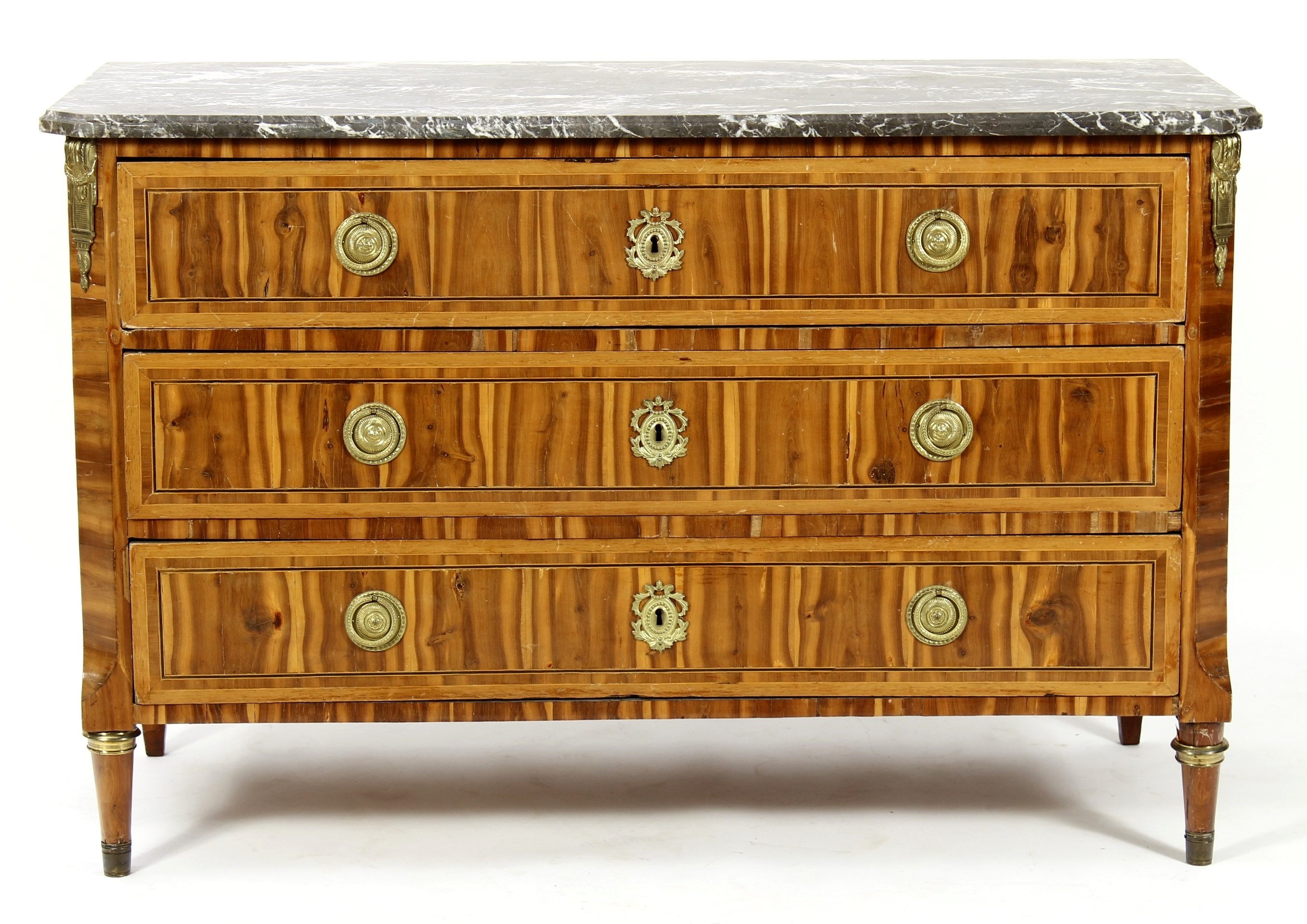Louis XVI Exotic Veneer Wood Commode. Sold For $4,375