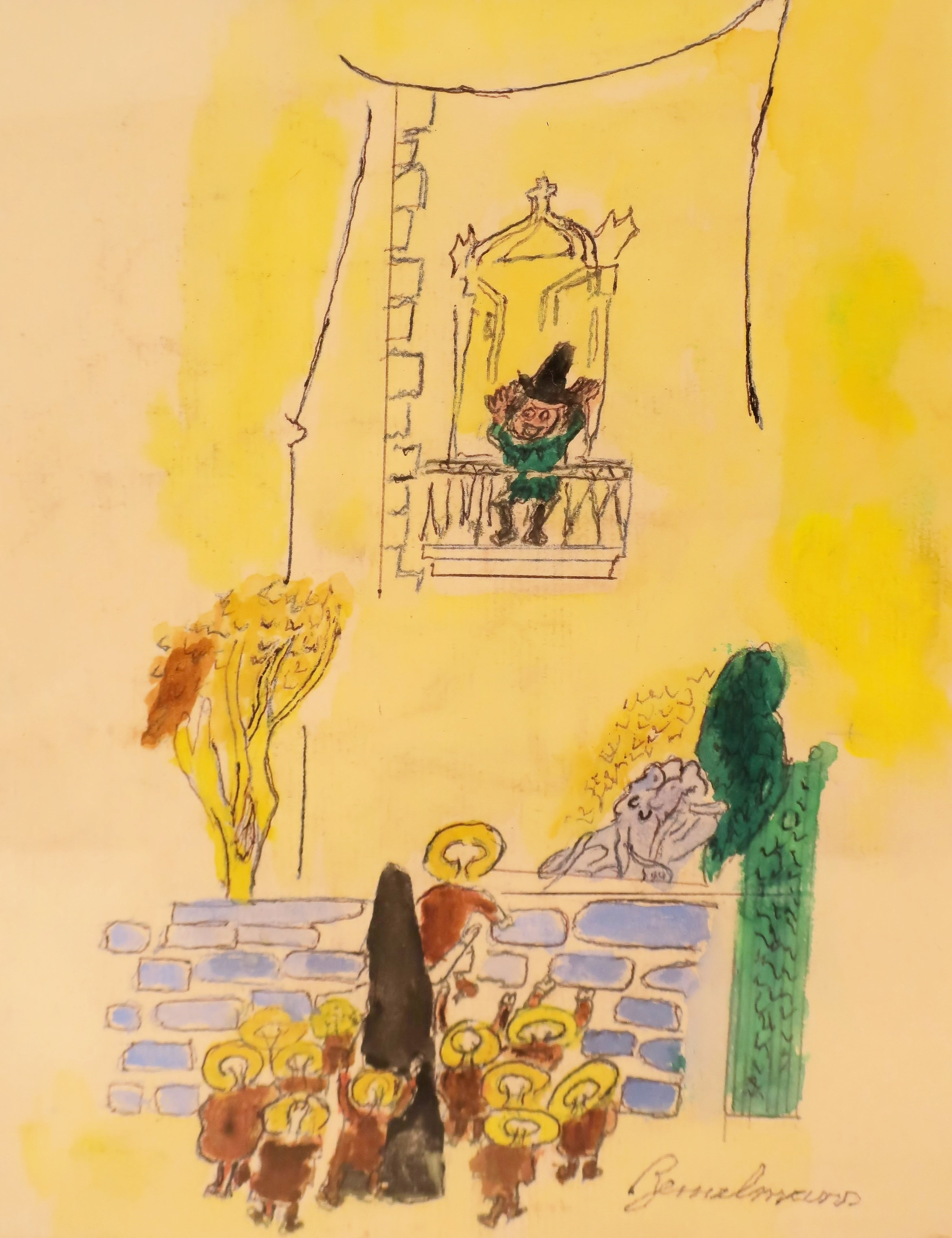 Ludwig Bemelmans, This Little Boy Is A Bad Hat, Watercolor. Sold For $5,000