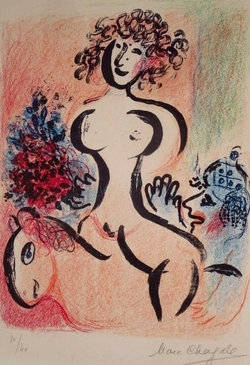 Marc Chagall, Rus-Fr., Ecuyere Au Bouquet, Litho, Sold For $6,250