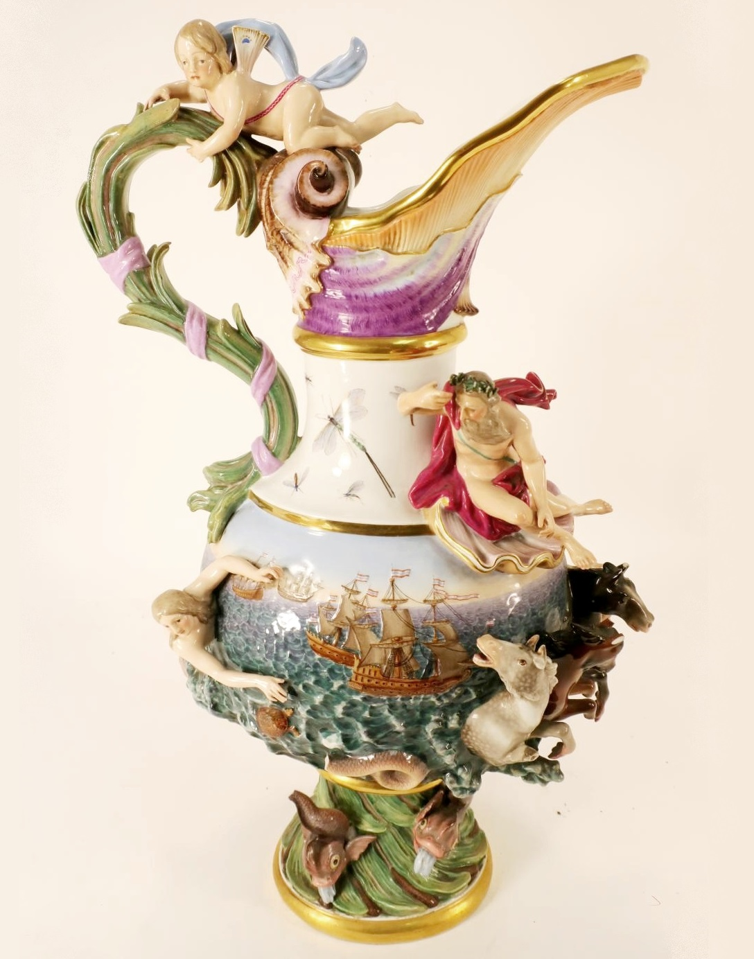 Massive Meissen Ewer. Sold For $8,437