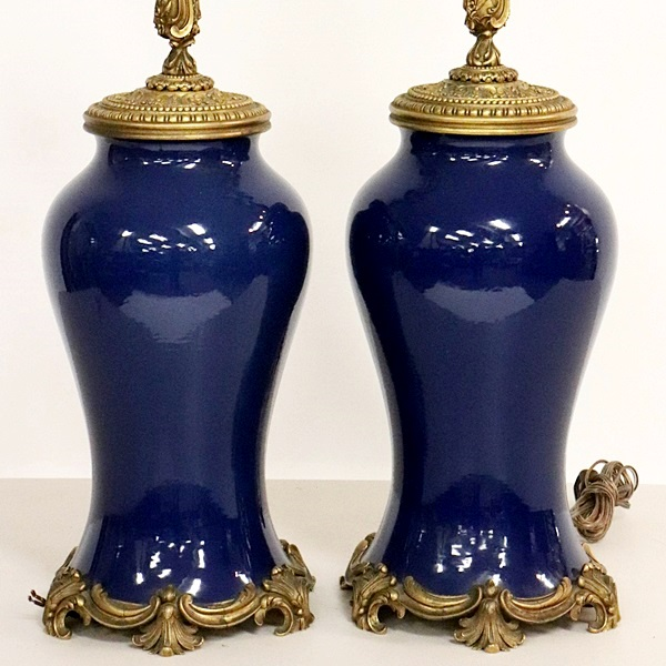Matching Pair Of Chinese Monochromatic Blue Vases Mounted As Lamps. Sold For $12,025