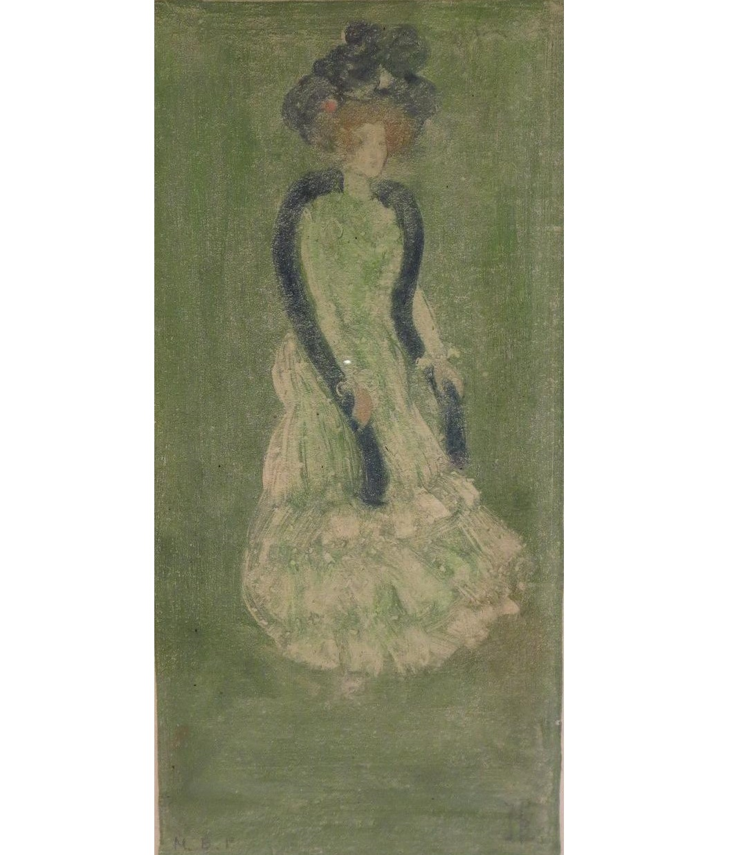 Maurice Prendergast, Am., 1858-1924, Lady In Green Dress, C. 1900, Monotype. Sold For $13,750.
