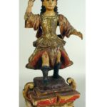 Mexican Carved Painted & Gilded Santos Of St. Michael, 19th C.. Sold For $3,265.