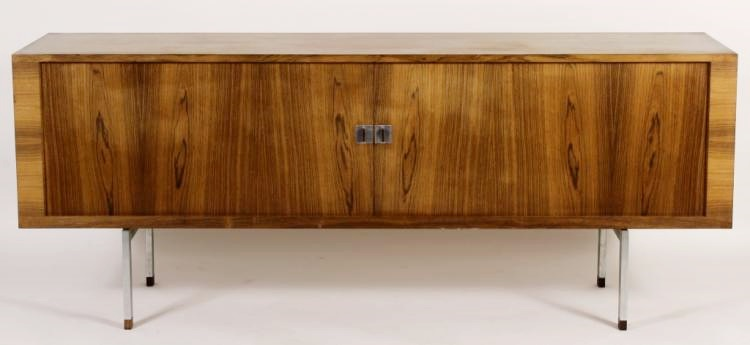 Midcentury Modern Credenza With Tambour Doors, Possibly Milo Baughman, Sold For $5,375