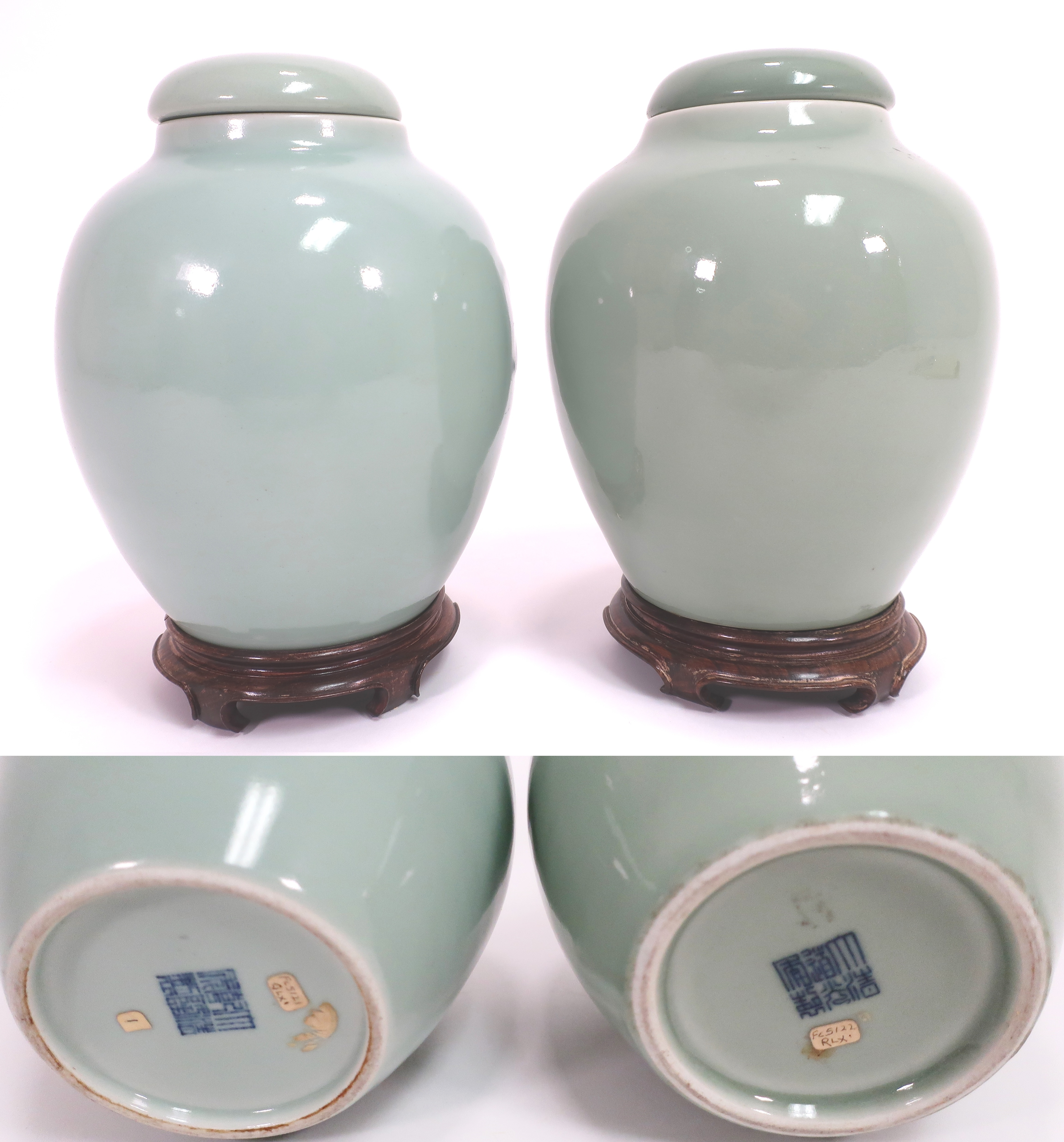 Near Pair Of Chinese Porcelain Covered Jars With Marks. Sold For $40,000