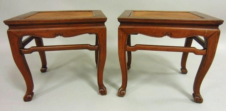 One Chinese Huanghuali Stool, 17th C., Together With Another Stool. Sold For $24,000.