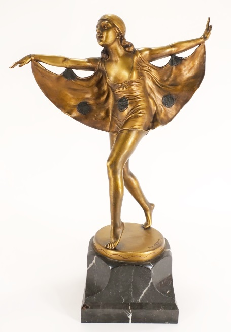 Otto Poertzel, 1876-1963, Deco Dancer, Bronze C. 1930, Sold For $4,125