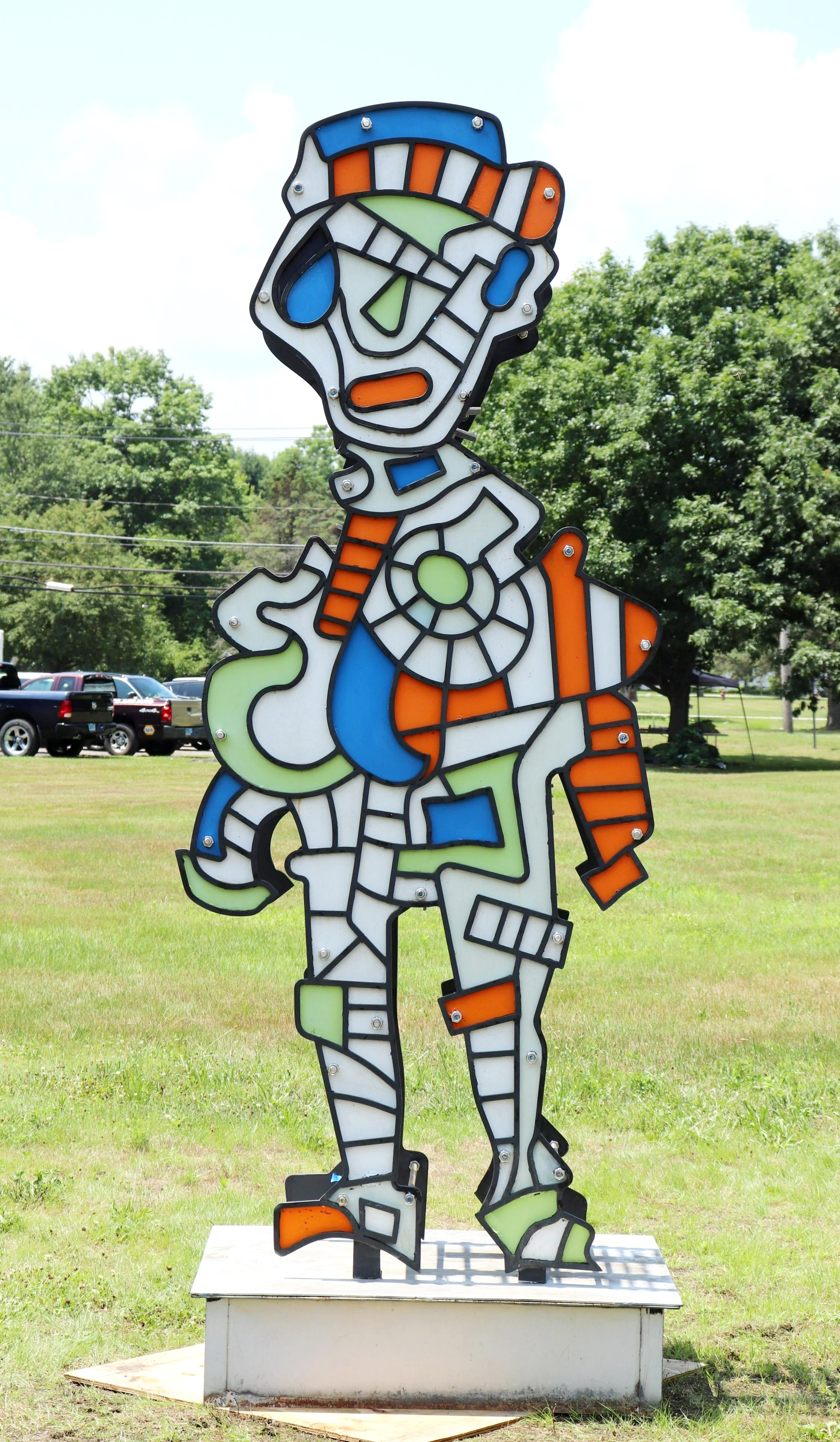 P. Corvino Mr. Machine Painted Metal Sculpture. Sold For $3,900