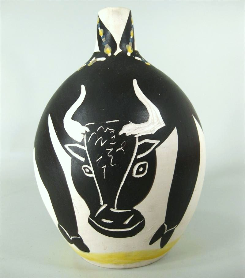 Pablo Picasso, Spanish, 1881-1973, 'Bull', Madoura Ceramic Glazed Pitcher. Sold For $30,000.