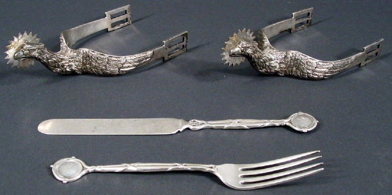 Pair Civil War Silverplate Spurs, C. 1864, Alford B. Chapman, 57th NYV. Sold For $6,562.