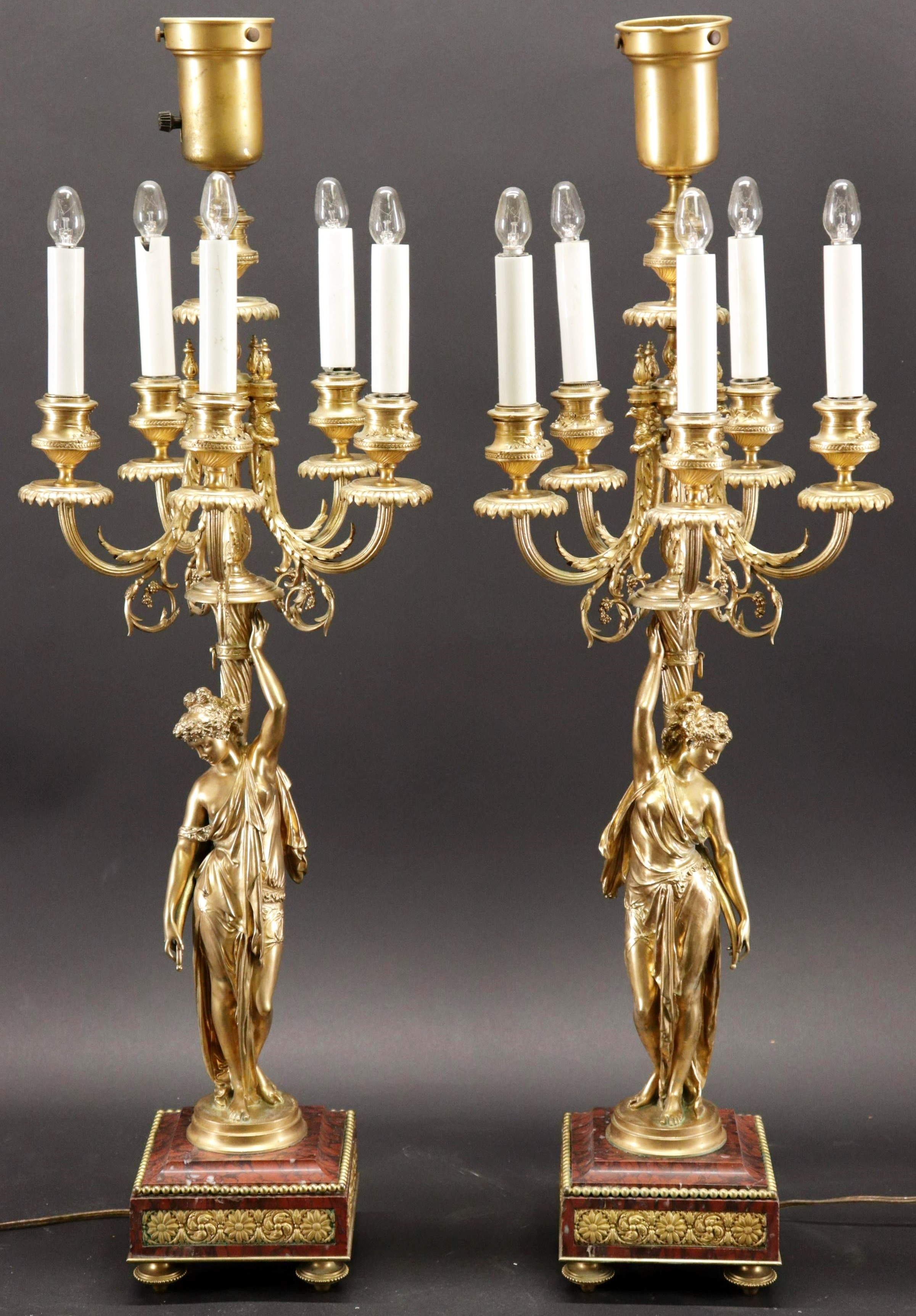 Pair Louis XVI Style Gilt Bronze Candelabra Lamps. Sold For $3,380