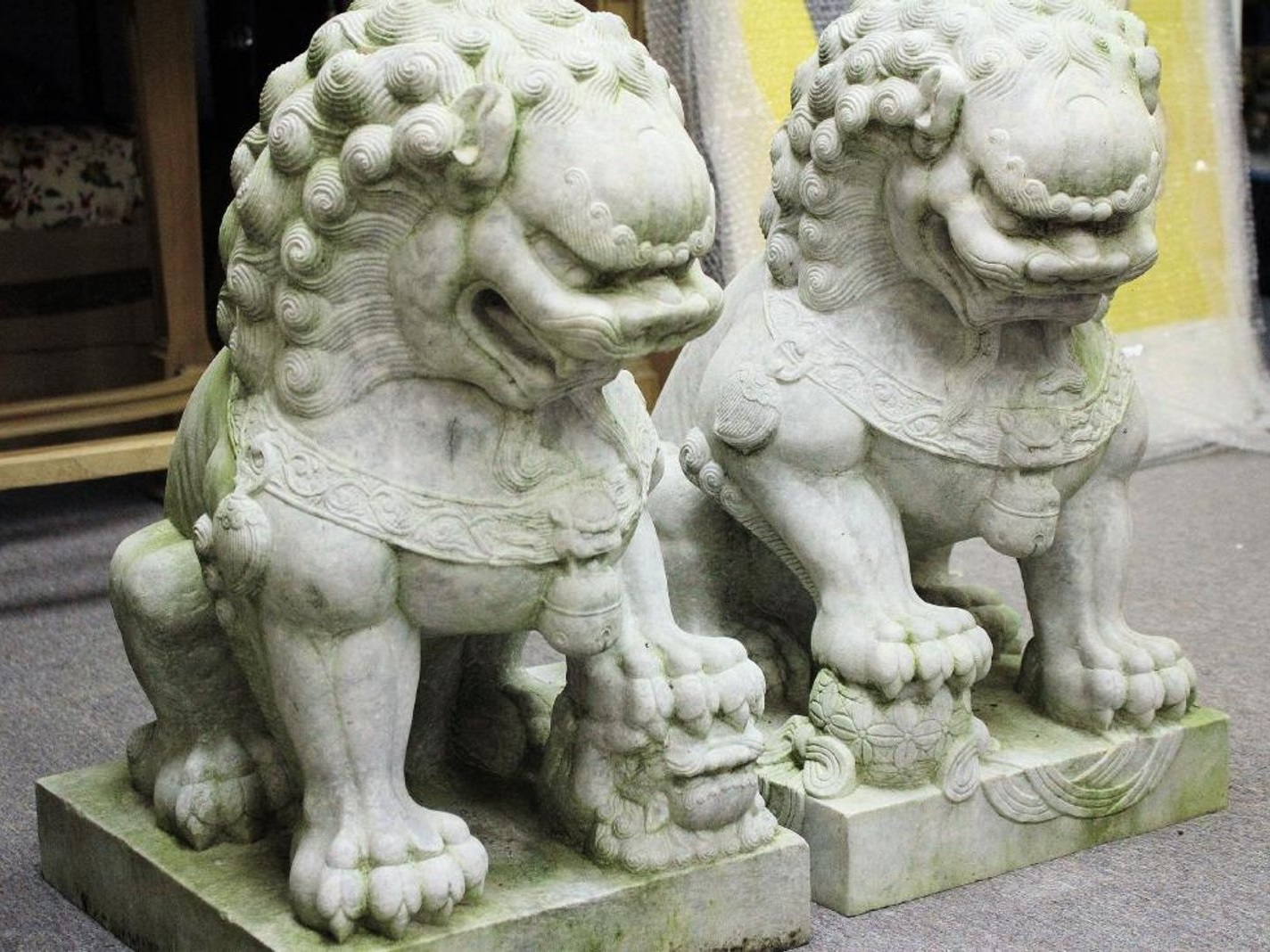Pair Of Massive Marble Foo Lions On Plinths. Sold For $3,500