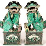 Pair Of Chinese Famille Verte Foo Lions, 19th C. Sold For $4,500