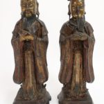 Pair Of Chinese Ming Dynasty Bronze Daoists. Sold For $12,500