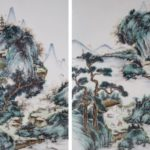 Pair Of Chinese Porcelain Painted Plaques With Mountains, Water, And Figures, 20th C. Sold For $6,562.