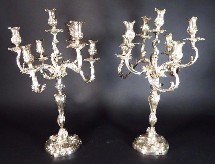Pair Of Christofle Sterling Silver Seven Arm Candelabra. Sold For $11,562.