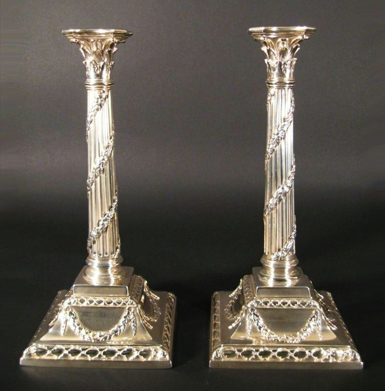 Pair Of Classical Style Sterling Silver Candlesticks, European, Late 19th C. Sold For $8,125.