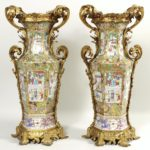 Pair Of Famille Rose Ormolu-Mounted Porcelain Vases, Chinese, Ca. 1900. Sold For $26.562.