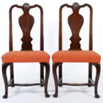 Pair Of George I Walnut Splat Back Side Chairs, E. 18th C. Sold For $4,750