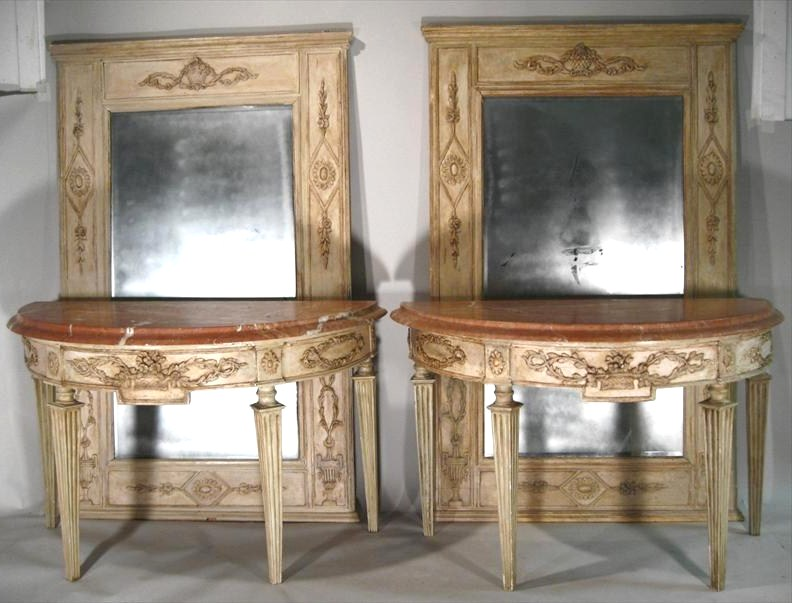 Pair Of Italian Carved & Painted Marble Top Console Tables, 18th C. Sold For $23,400.