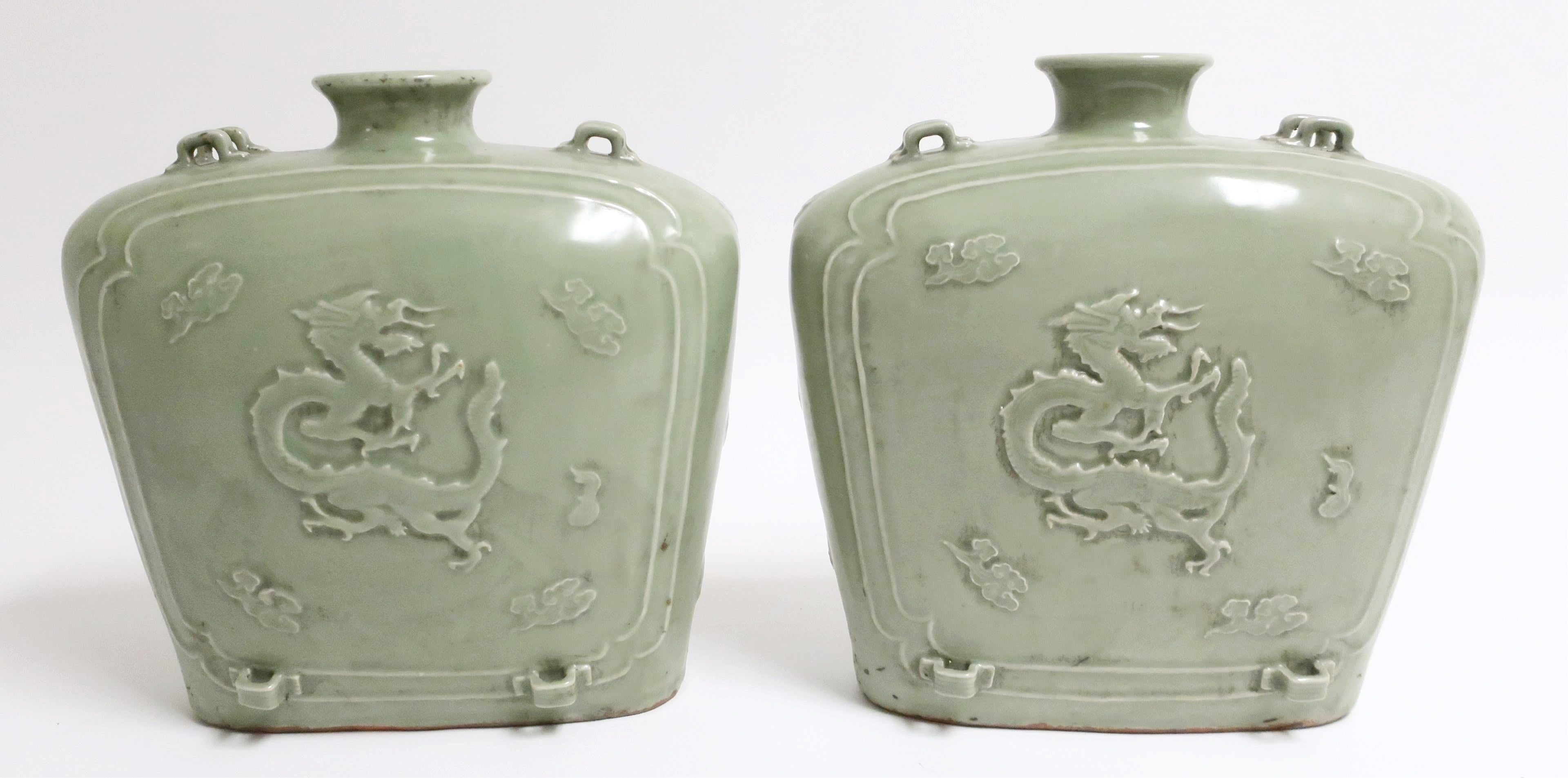 Pair Of Large Celadon Bianhi Shapes Vases. Sold For $9,100