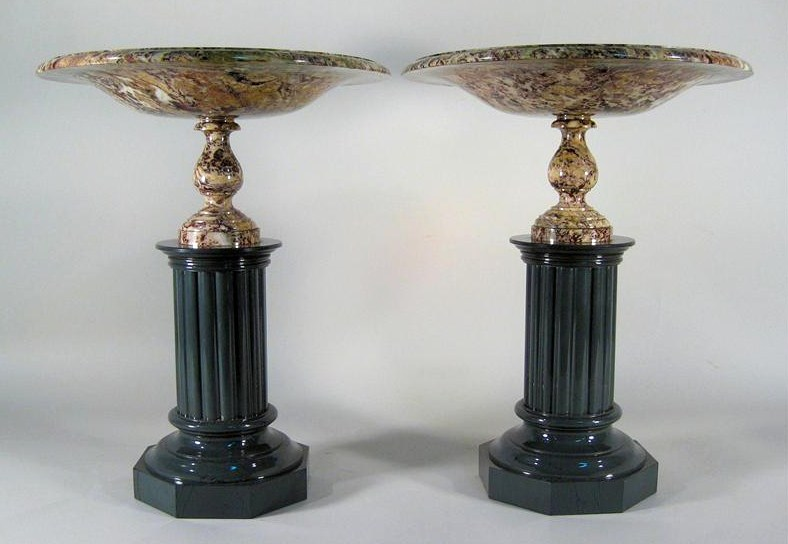 Pair Of Large Jasper Tazzi, Probably Russian, 19th C. Sold For $45,600.