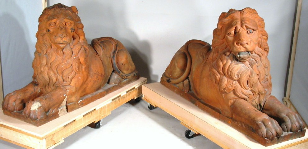 Pair Of Large Terracotta Recumbent Figures Of Lions, Probably Italian, 19th-20th C. Sold For $10,968.