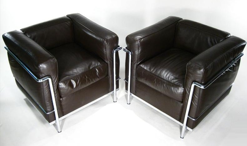 Pair Of Le Corbusier Leather & Chrome Arm Chairs, Atelier Int'l Ltd., Cassina. Sold For $7,812.