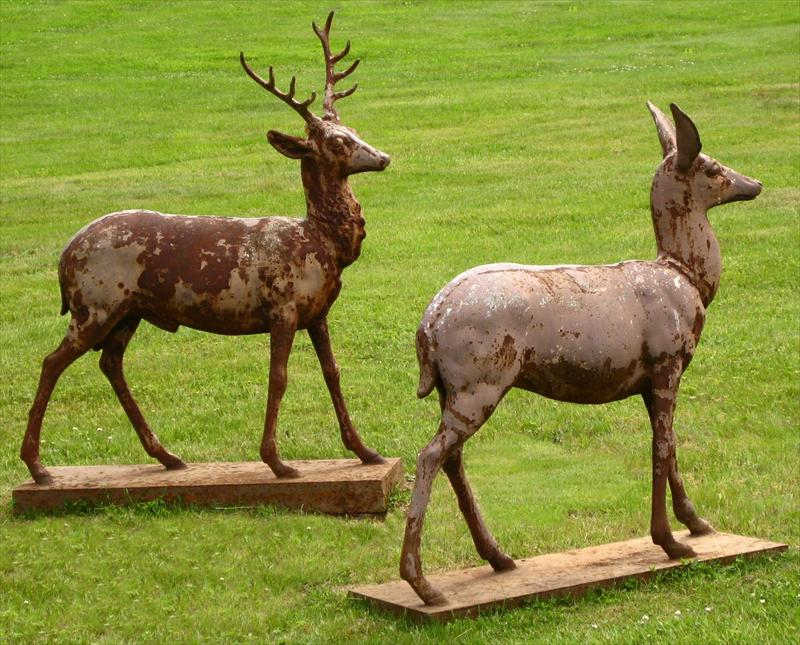 Pair Of Paint-Decorated Cast Iron Deer, Possibly By J.W. Fiske & Co., NY, Late 19th C. Sold For $7,812.