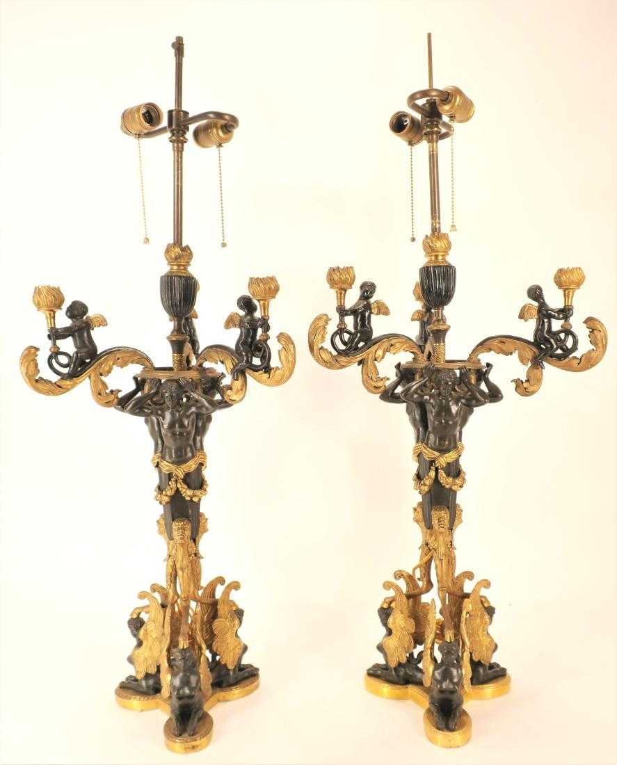 Pair Of Russian Empire Gilt Bronze Patinated Bronze Candelabra. Sold For $5,000