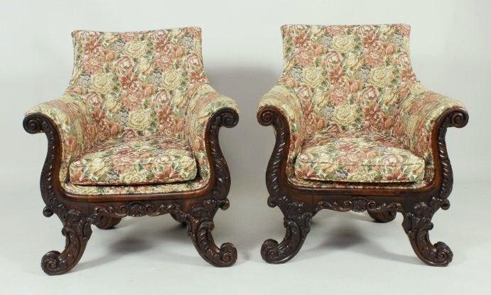 Pair Of Victorian Oversized Carved Rosewood Arm Chairs, 19th-20th C.. Sold For $19,375.