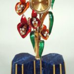 Parisian 18k Gold, Diamond & Cloisonne Flower Clock On Lapis Lazuli Base. Sold For $4,500.