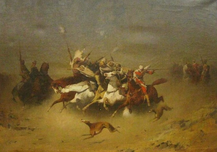 Paul Delamain, French, 1821-1882, 'Arabian Salute', Oil On Canvas. Sold For $50,400.