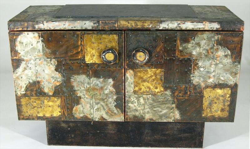 Paul Evans, New Hope, PA, 1931-1987, Metal Patchwork Side Cabinet, PE-38 C. 1960's. Sold For $14,400.