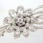 Platinum & Diamond Floral Spray Brooch Fur Clip, Sold For $3,750