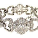 Platinum And Diamond Bracelet, Mid 20th C. Sold For $6,250. April 2008. ITEM NO. 995499