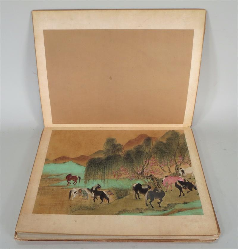 Portfolio Of Asian Paintings Of Horses On Silk, 19th C.. Sold For $7,500.