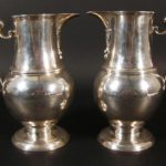 Pr. George I Silver Beer Jugs, London 1722. Shown In Queen Charlottes 1929 Silver Exhibition. Sold For $16,200.